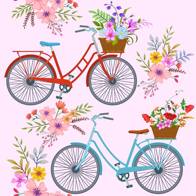 Bicycle with flowers pattern. Premium Vector