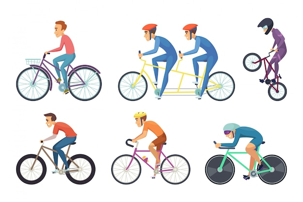 Bicyclist ride various bikes. funny characters isolated Premium Vector