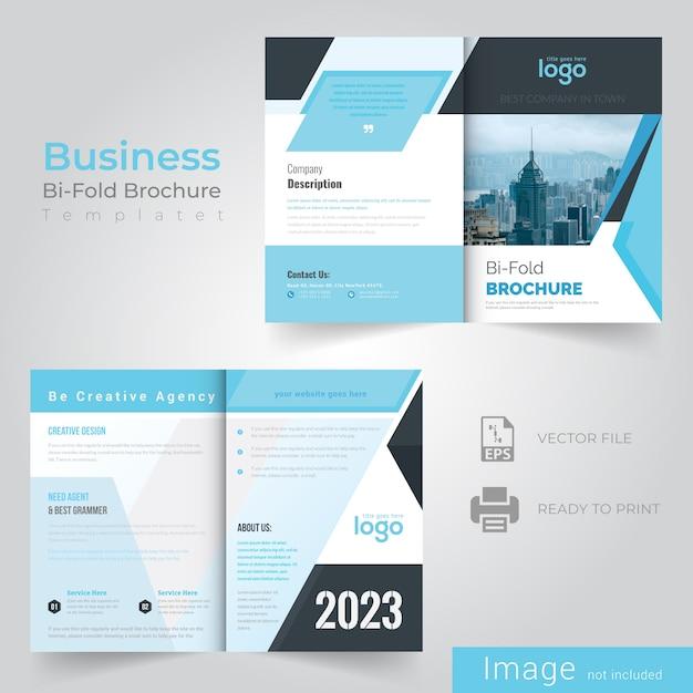 Bifold blue abstract brochure design Premium Vector