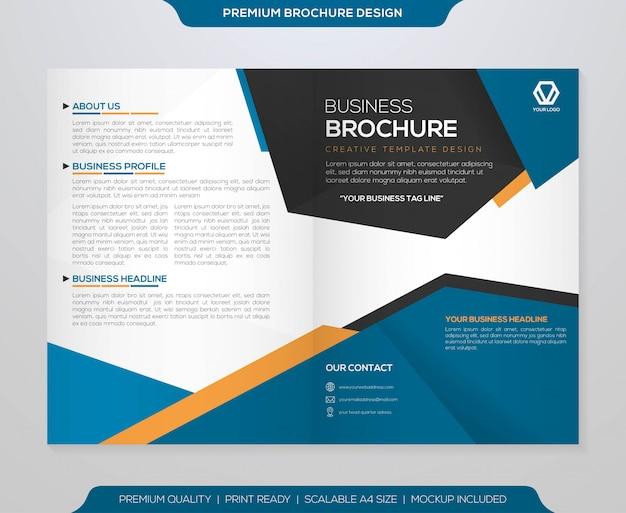 Bifold brochure template  vector Premium Vector