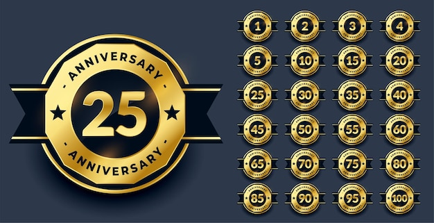 Big anniversary labels set in golden color Free Vector