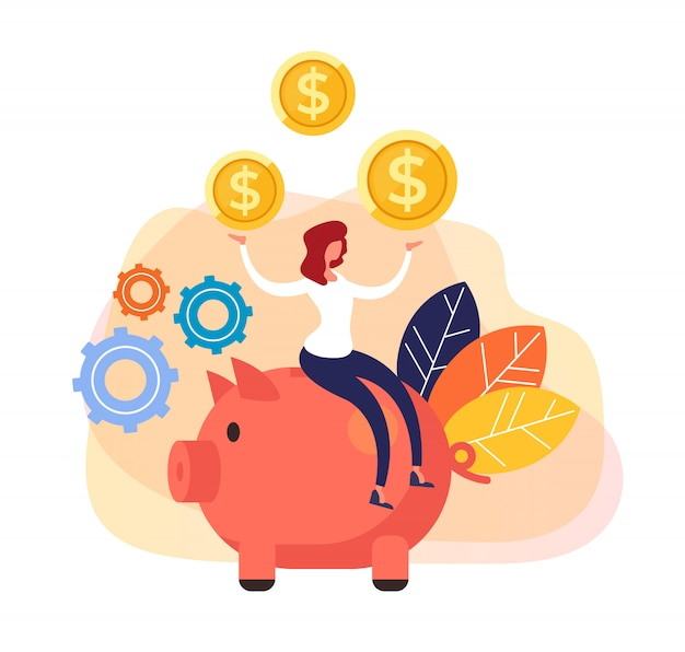 Big bank investment successful business Premium Vector