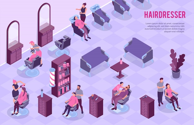 Big barbershop room interior and stylists at work 3d horizontal isometric  illustration Free Vector