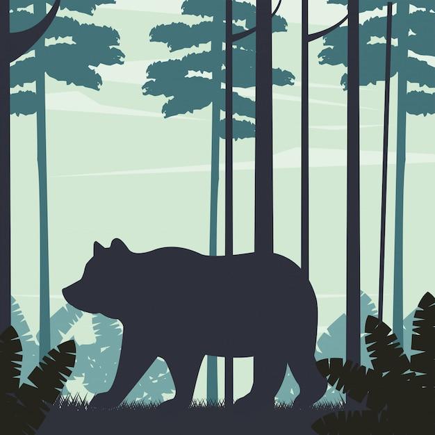 Большой медведь животное в пейзажной сцене Premium векторы