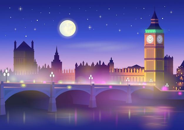 ビッグベンとロンドンのウェストミンスター橋の夜。漫画のスタイルのベクトルイラスト。 Premiumベクター