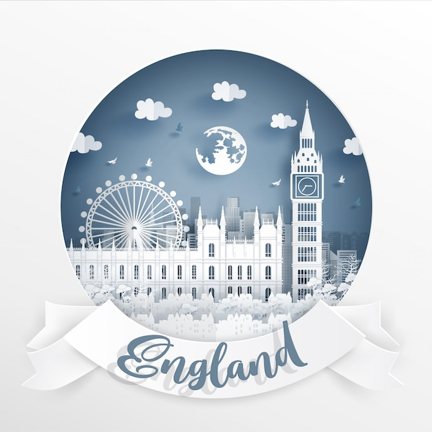 Big ben, world famous landmark of england with white frame and label. Premium Vector