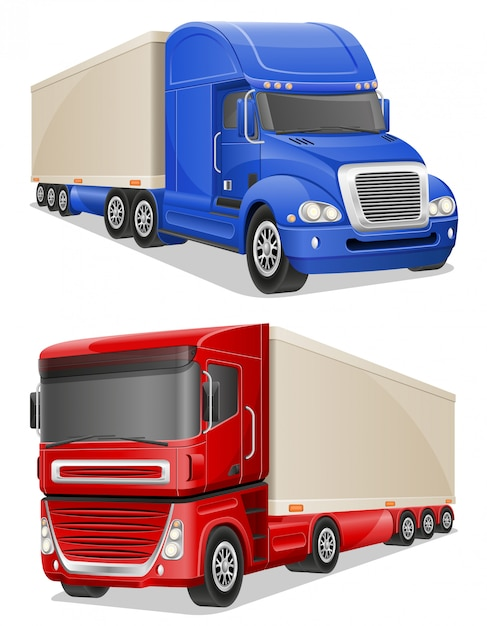 Big blue and red trucks vector illustration Premium Vector