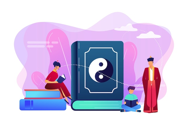 Big book with yin-yang and taoism family reading, tiny people. yin yang taoism, daoism and confucianism, taoism chinese philosophy concept. Free Vector
