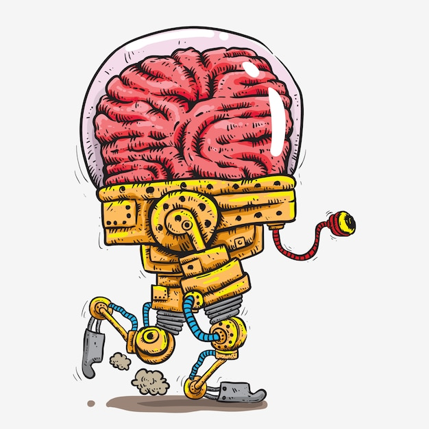 Big brain covered in glass head robot with tentacle one eye hand drawing Premium Vector