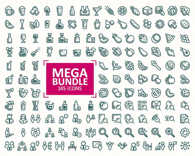 Big bundle, set of vector illustrations fine line icons. 32x32 pixel perfect Free Vector