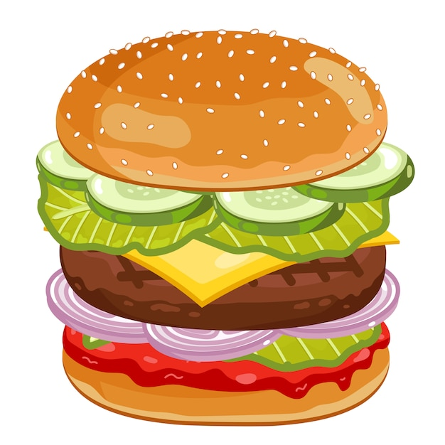 Big burger on white Premium Vector