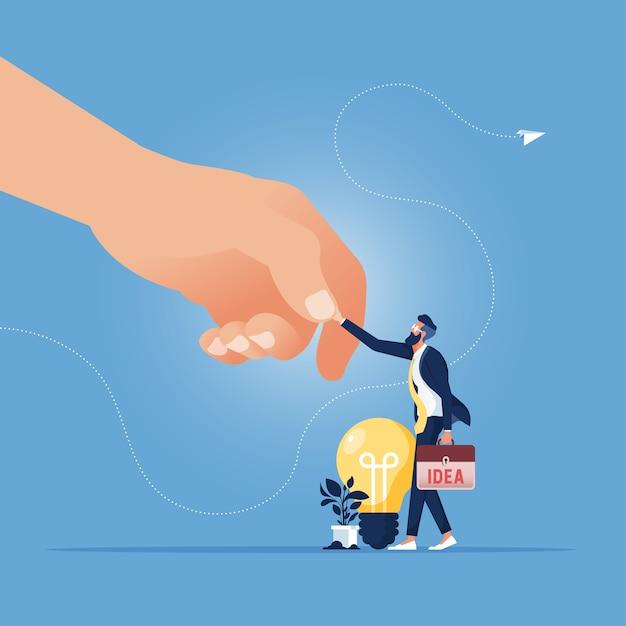 大企業は大企業の採用のような中小企業と最高のアイデアの労働者と握手をします Premiumベクター