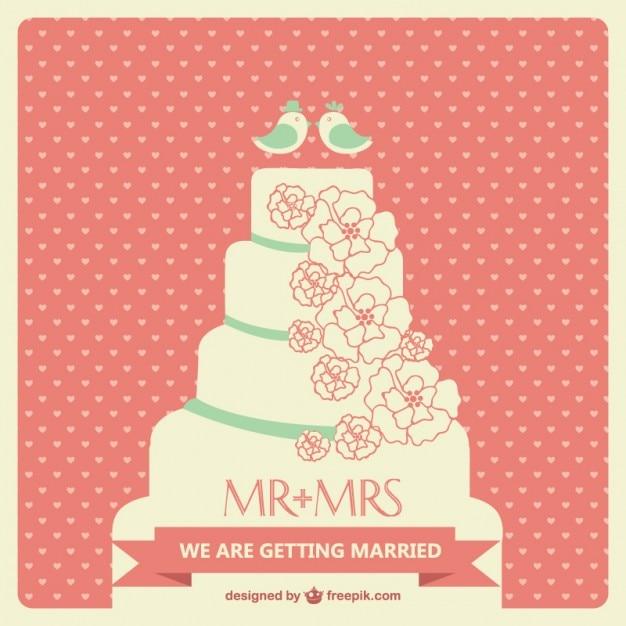 Big Cake Wedding Invitation Vector Free Download