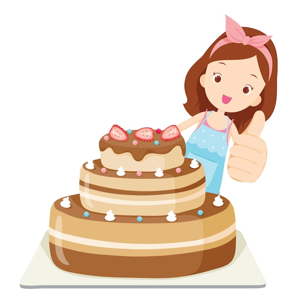 Big cake with girl thump up, food and bakery Premium Vector