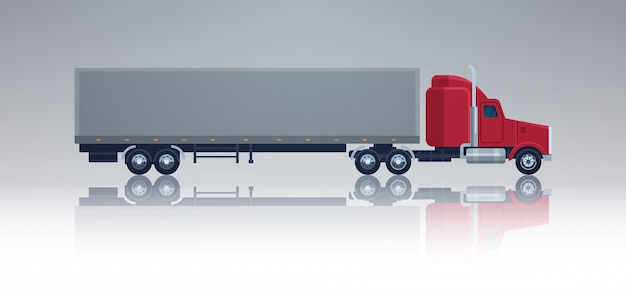 Big cargo truck trailer vehicle isolated template element semitrailer side view shipping and deliver Premium Vector