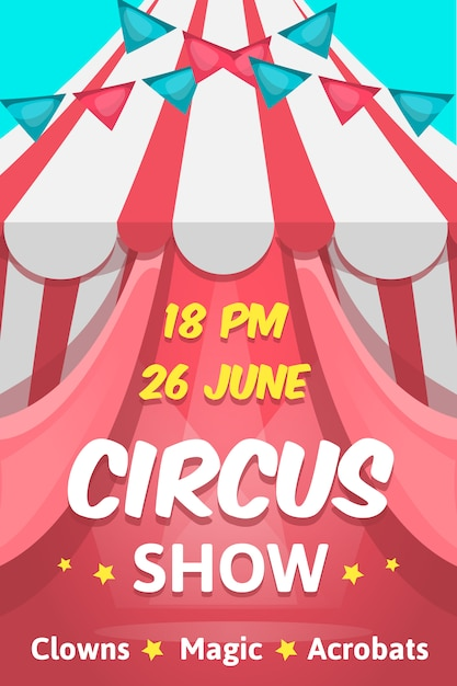 Big cartoon style pink poster with circus show editable text announcing clowns magic acrobats performance Free Vector