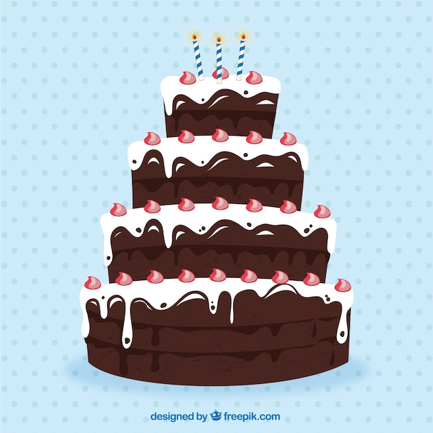 Big Cake Images For Birthday : Big chocolate birthday cake Vector Free Download