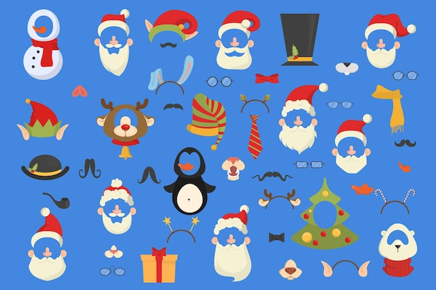 Big christmas party props for photobooth set. collection of hat, mask and other decoration for fun. santa hat and moustache.   illustration Premium Vector