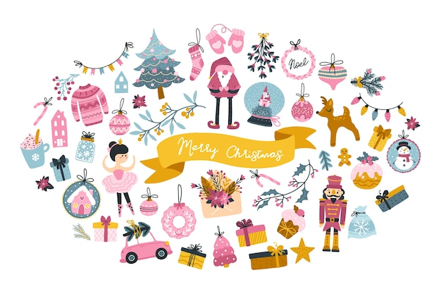 Big christmas set greeting card with cute characters and festive elements in the shape of an oval, in a childish hand-drawn scandinavian style with lettering. pastel palette. Premium Vector