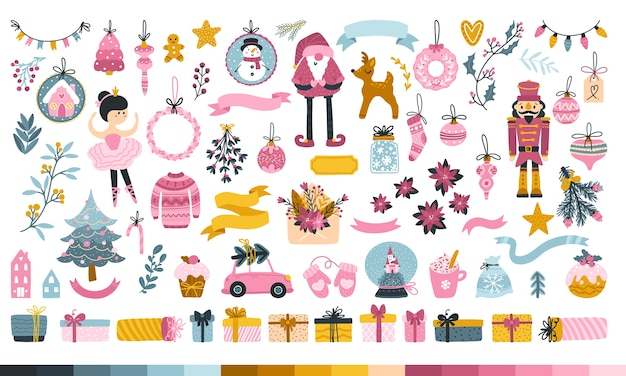 Big christmas set for a princess. cute characters, santa, toys, christmas tree, sweets and gifts. cute palette of sweets. Premium Vector
