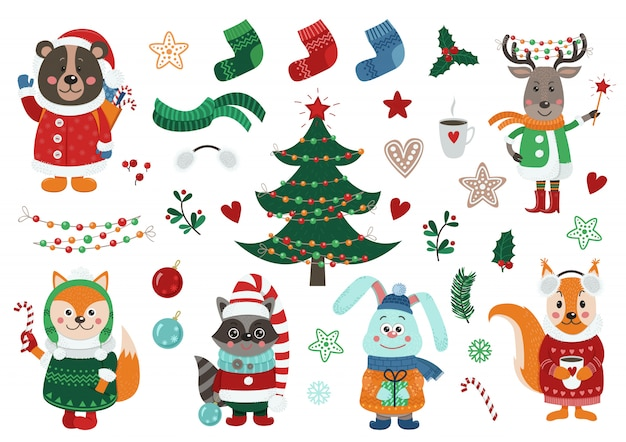 Big christmas set with isolated  forest animals Premium Vector