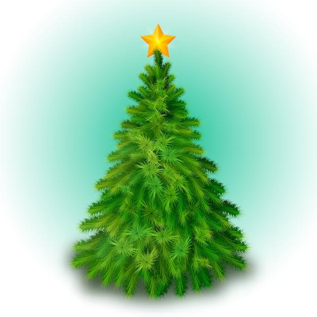 Grande albero di natale decorato con stella gialla Vettore gratuito