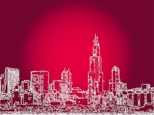 Big city buildings architecture outlines