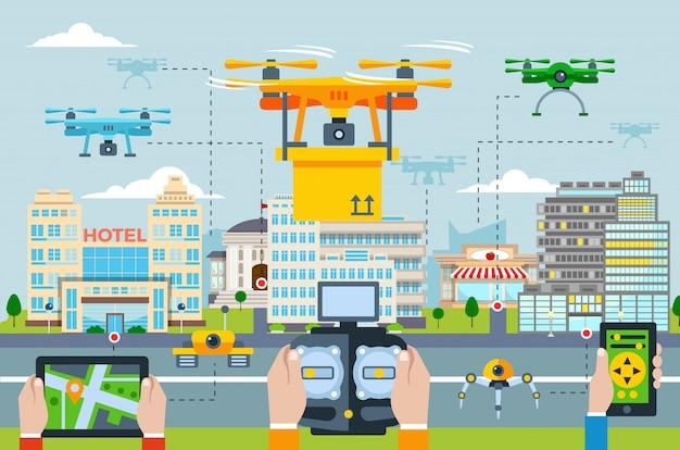Большой город концепция современных технологий с людьми, запускающими дроны с помощью различных приложений на устройстве Бесплатные векторы