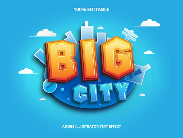 Big city text effect editable Premium Vector