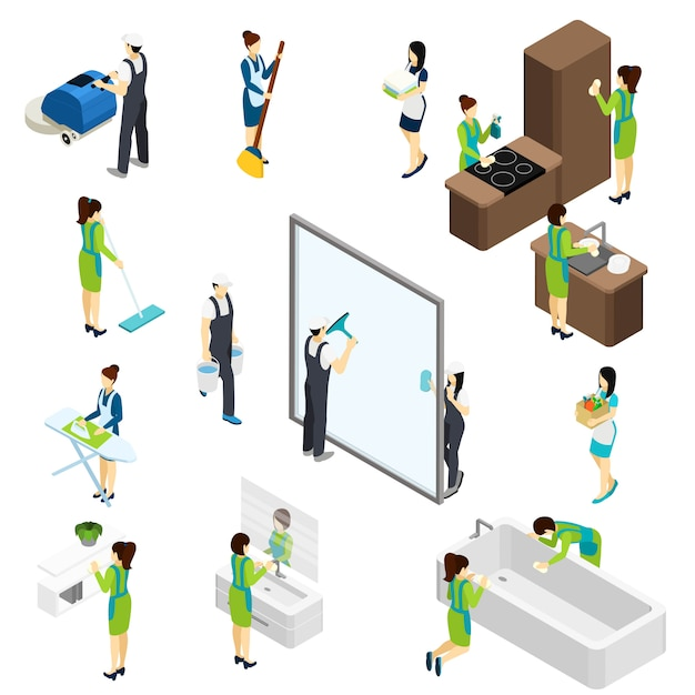 Big cleaning isometric pictograms composition poster Free Vector