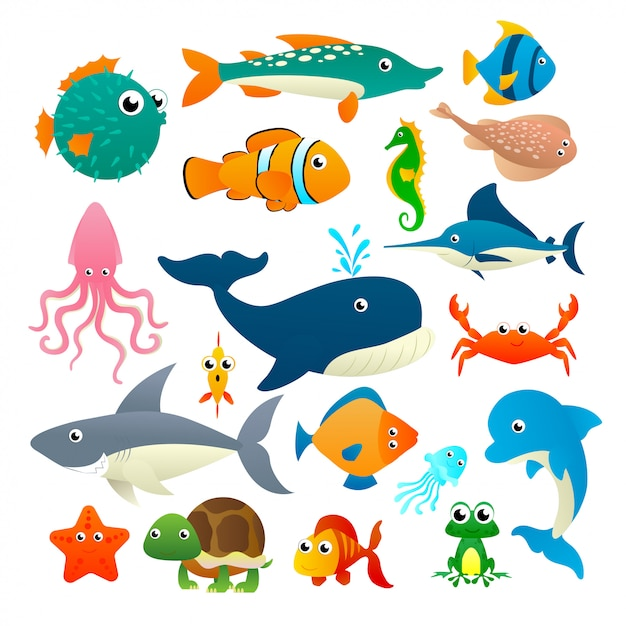 Big collection cartoon sea animals on white background Premium Vector
