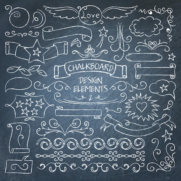 Big collection of chalkboard elements Premium Vector