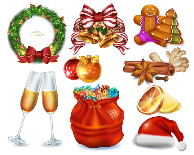 Big collection christmas icons for celebrate new year Premium Vector