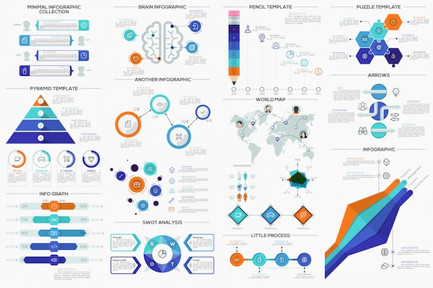 Big collection of flat minimal infographic templates Premium Vector