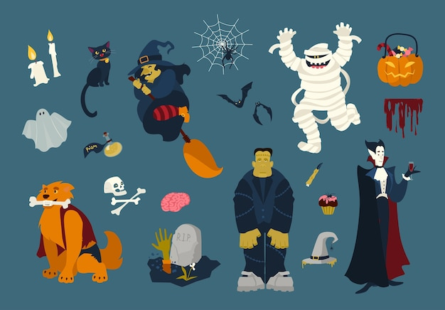 Big collection of funny and spooky halloween cartoon characters - zombie, mummy, ghost, witch flying on broom, black cat, dead, vampire, spider on web, bats. festive colorful flat vector illustration. Premium Vector