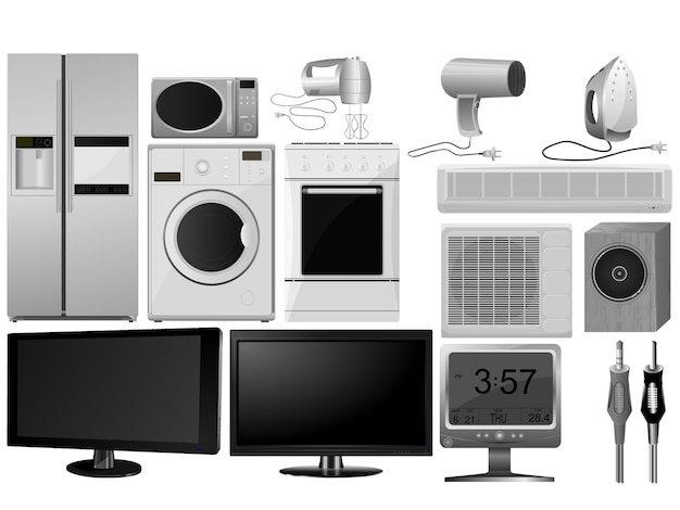 Big collection of images of household appliances Premium Vector