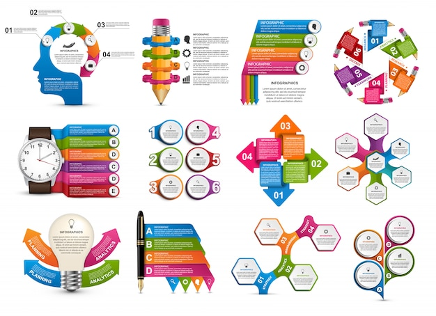 Big collection of infographics. Premium Vector