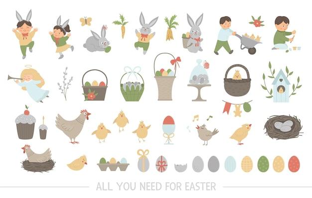 Большая коллекция элементов дизайна на пасху. набор с милым зайчиком, детьми, крашеными яйцами, щебечущей птичкой, птенцами, корзинками. весенняя забавная иллюстрация. Premium векторы