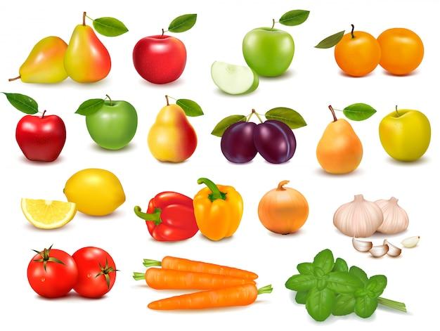 Большая коллекция фруктов и овощей иллюстрации Premium векторы