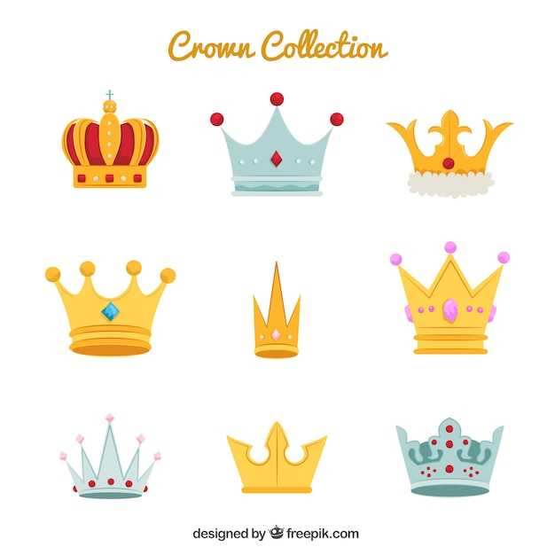 Big collection of various crown and diadems Free Vector