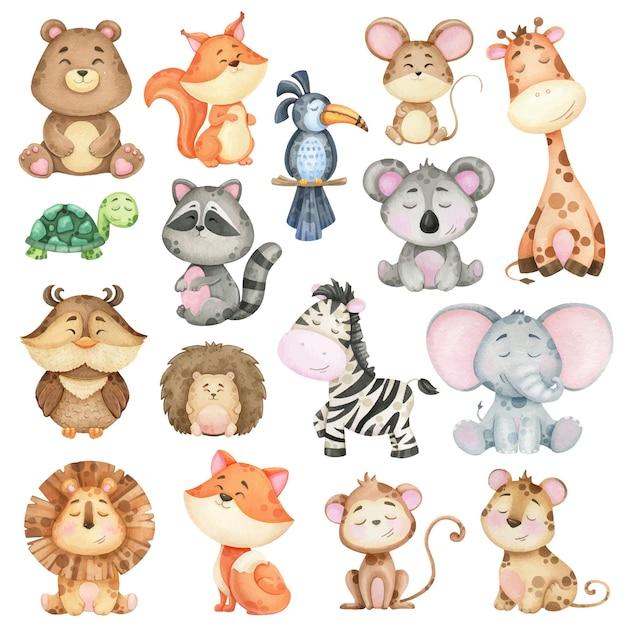 숲과 정글의 수채화 동물의 큰 컬렉션. 인쇄용 일러스트레이션 프리미엄 벡터