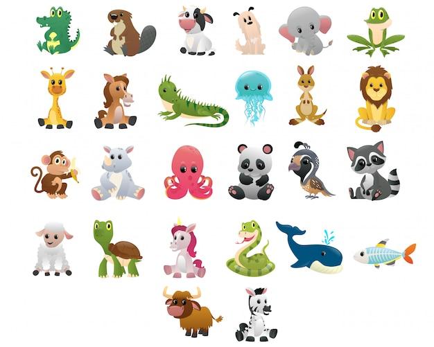 Большая коллекция в стиле мультяшных животных Premium векторы