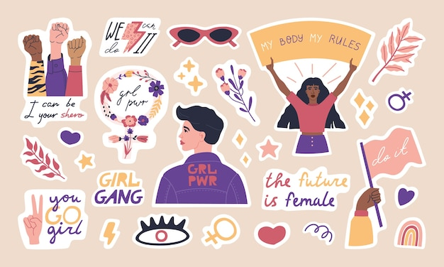 Big collection of trendy feminism stickers, cute woman characters and inspiration quotes. Premium Vector