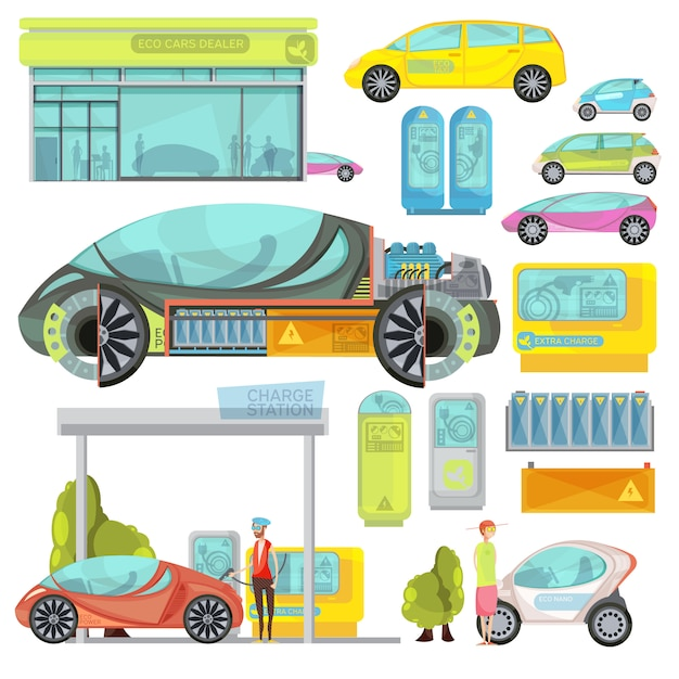 Big colorful flat set of eco electro cars and charge stations isolated on white background Free Vector