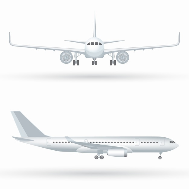 Big commercial jet airplane. airplane in profile, from the front view Premium Vector