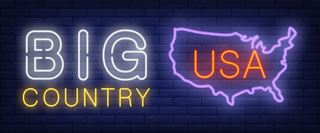 Big country neon text with usa map silhouette Free Vector