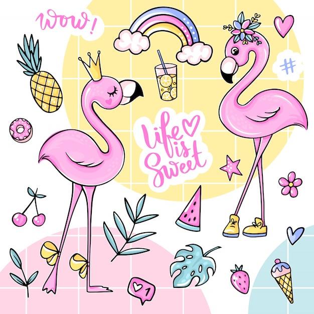 Big cute summer stickers set with flamingos, ice cream, watermelon, pineapple, rainbow, lemonade, cherry. Premium Vector