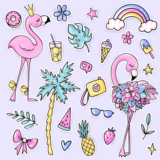 ice cream Clipart Summer watermelon Clipart set of stickers,set of summer stickers Tropics Summer Digital Stickers parrots Goodnotes
