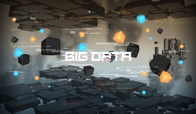 Big data abstract visualization. futuristic aesthetic design. big data background with hud elements. Premium Vector