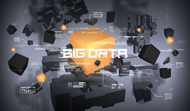 Big data abstract visualization. futuristic aesthetic design. big data with hud elements. Premium Vector
